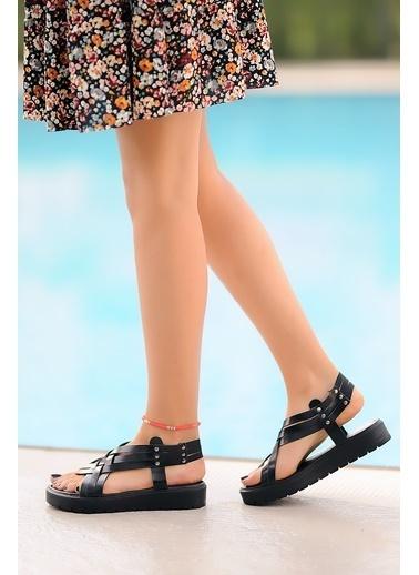 Pembe Potin A305-20 Kadın sandalet Siyah